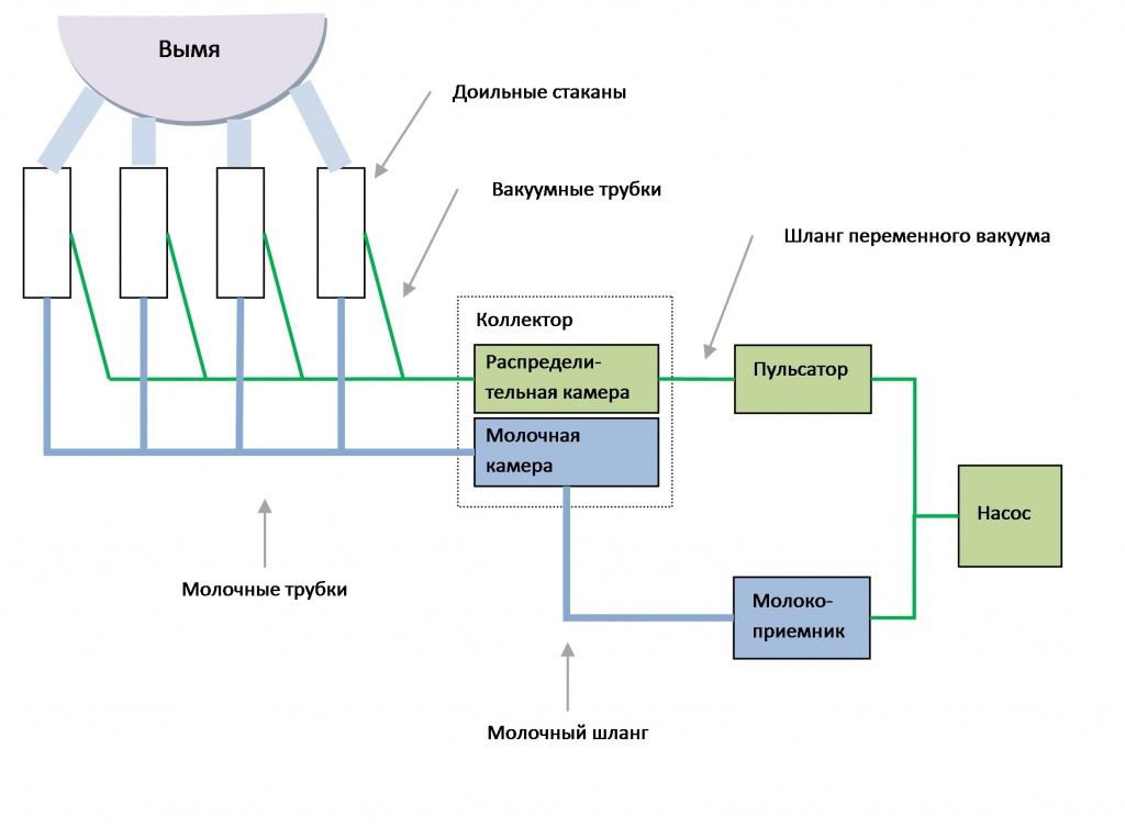 Схема доильного аппарата АИД-2